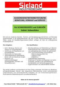 Stellenangebot - Aussendienst - Schweißgeräte - 2016